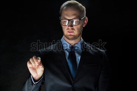 бизнесмен прикасаться виртуальный экране деловые люди Сток-фото © dolgachov