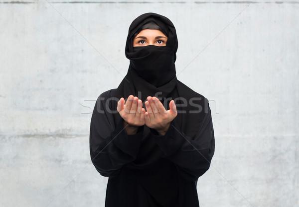 молиться мусульманских женщину хиджабе белый религии Сток-фото © dolgachov