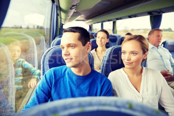 Stockfoto: Gelukkig · paar · passagiers · reizen · bus · vervoer