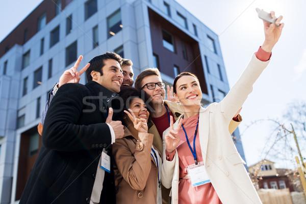Mutlu insanlar konferans rozetler iş eğitim Stok fotoğraf © dolgachov
