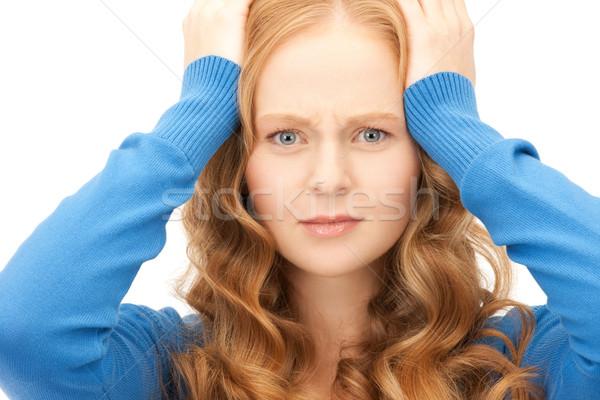 Infeliz mujer brillante Foto blanco estudiante Foto stock © dolgachov