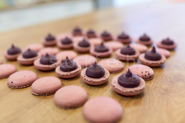 macarons on table at confectionery or bakery Stock photo © dolgachov