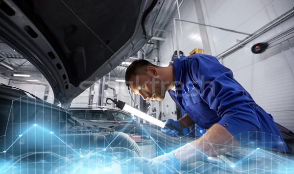 Mecânico homem lâmpada carro oficina Foto stock © dolgachov