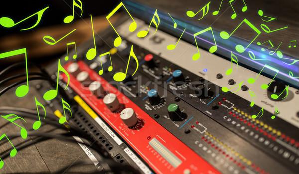 close up of music mixing console Stock photo © dolgachov