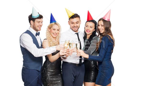 Amici champagne occhiali festa di compleanno celebrazione vacanze Foto d'archivio © dolgachov
