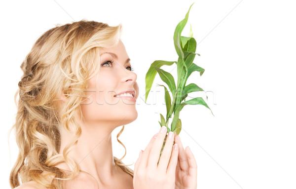 Kadın bambu resim beyaz kız yüz Stok fotoğraf © dolgachov