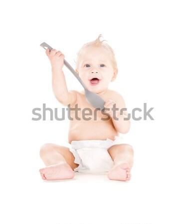 Bebê menino fralda quadro branco Foto stock © dolgachov