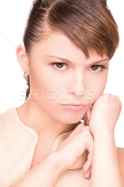 Ongelukkig vrouw heldere foto witte triest Stockfoto © dolgachov