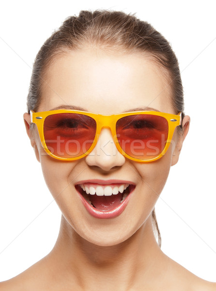 happy screaming teenage girl in shades Stock photo © dolgachov