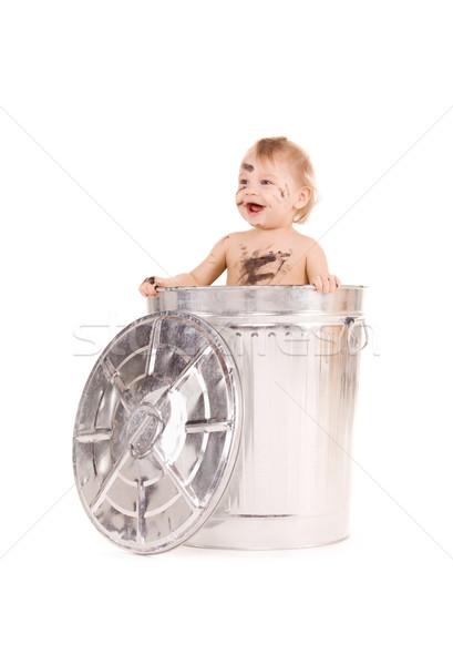 Bebek çöp kutusu resim çok güzel çocuk erkek Stok fotoğraf © dolgachov