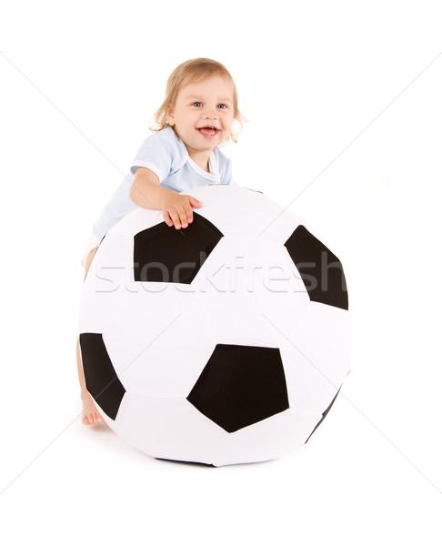 ребенка мальчика футбольным мячом фотография белый счастливым Сток-фото © dolgachov
