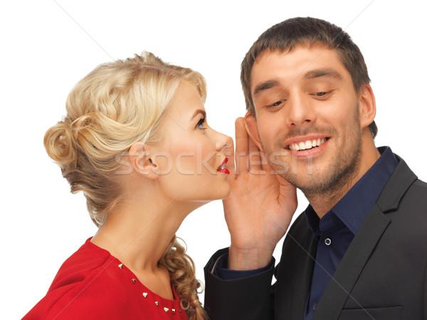 Adam kadın dedikodu parlak resim odak Stok fotoğraf © dolgachov