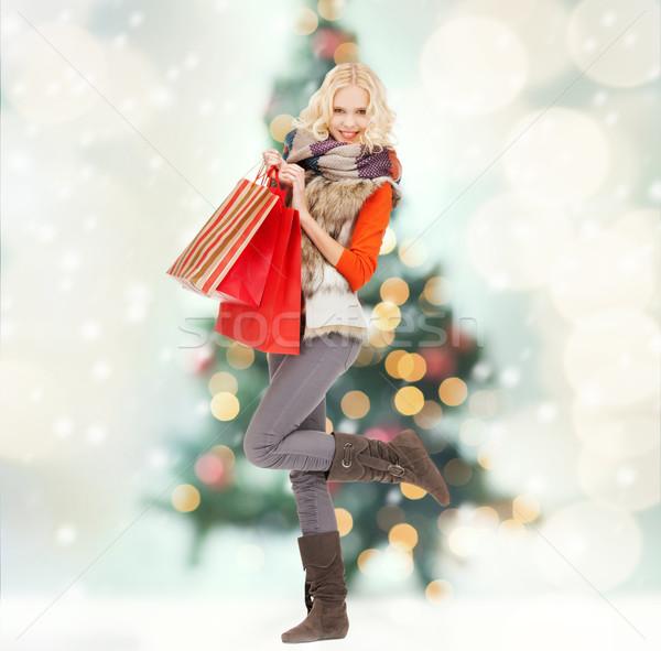 Stok fotoğraf: Genç · kız · kış · elbise · perakende · satış