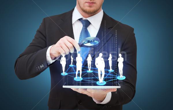 Biznesmen strony technologii Zdjęcia stock © dolgachov