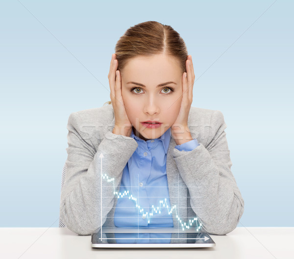 businesswoman with tablet pc and forex graph Stock photo © dolgachov