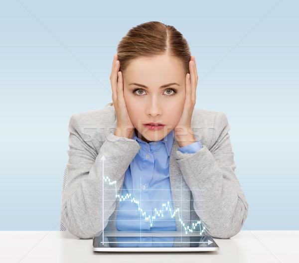 Zakenvrouw forex grafiek business technologie Stockfoto © dolgachov