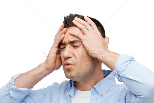 Ongelukkig man aanraken voorhoofd stress Stockfoto © dolgachov