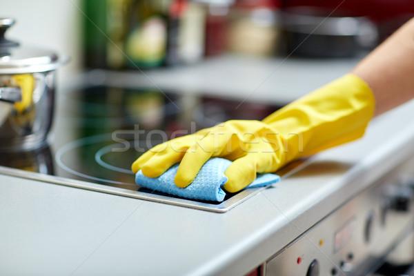 Foto stock: Mulher · limpeza · casa · cozinha · pessoas