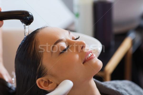 Stockfoto: Gelukkig · jonge · vrouw · kapsalon · schoonheid · mensen · kapper
