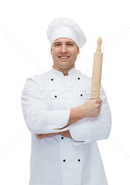 Boldog férfi szakács szakács tart sodrófa Stock fotó © dolgachov