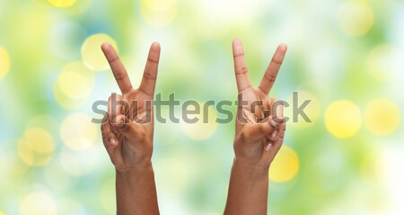 Handen tonen vrede teken regenboog hemel Stockfoto © dolgachov