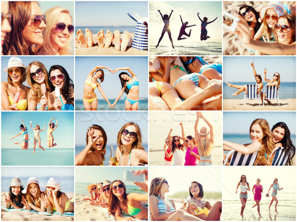 girls having fun on the beach Stock photo © dolgachov