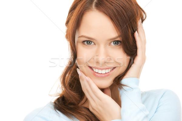 Foto stock: Mujer · brillante · Foto · blanco · manos · cara