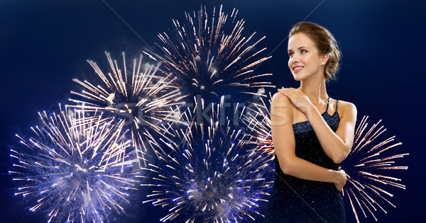 Bela mulher vestido de noite pessoas férias glamour Foto stock © dolgachov