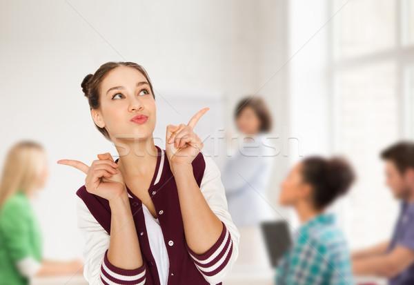 Mutlu öğrenci genç kız okul eğitim insanlar Stok fotoğraf © dolgachov