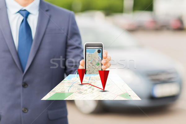 close up of business man with smartphone navigator Stock photo © dolgachov