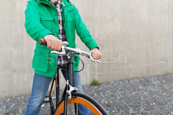 человека зафиксировано Gear велосипедов улице Сток-фото © dolgachov