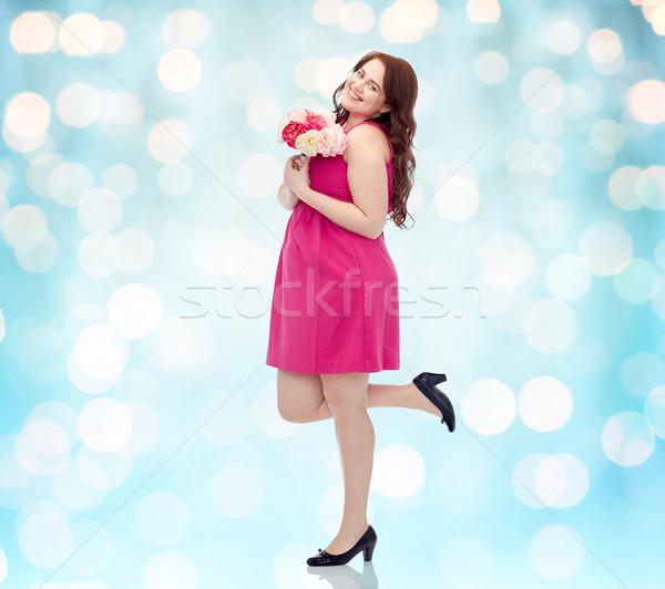 ストックフォト: 幸せ · 小さな · プラスサイズ · 女性 · 花