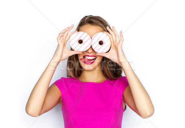 Boldog nő tinilány néz fánkok emberek Stock fotó © dolgachov