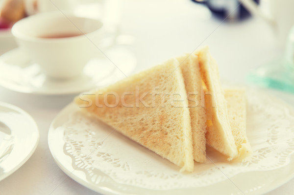 close up of toasted white bread on plate Stock photo © dolgachov