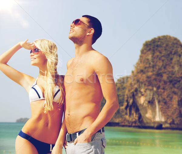 Szczęśliwy para egzotyczny tropikalnej plaży ludzi lata Zdjęcia stock © dolgachov