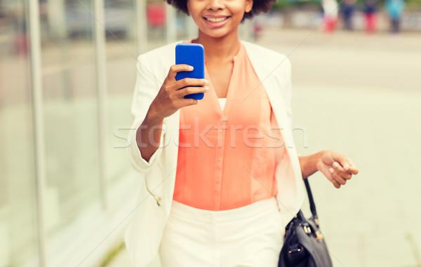 Foto stock: Africano · mulher · cidade · negócio