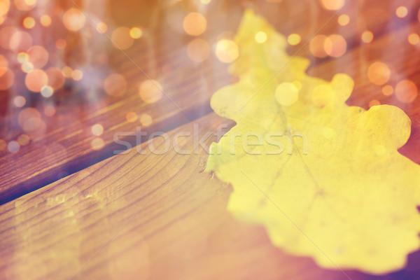 Jaune chêne automne feuille bois Photo stock © dolgachov