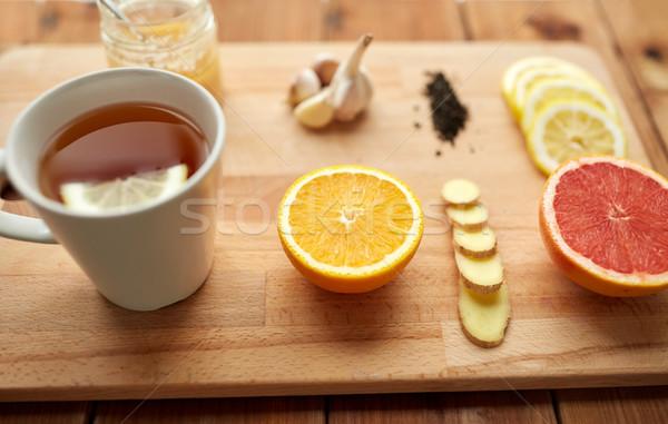 生姜 茶 はちみつ 柑橘類 ニンニク 木材 ストックフォト © dolgachov