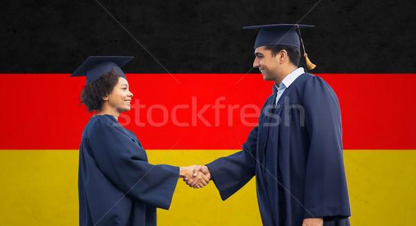 Gelukkig studenten bachelors groet ander onderwijs Stockfoto © dolgachov