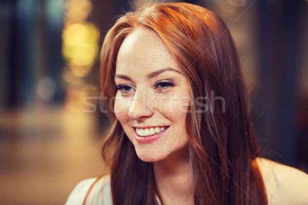 smiling happy young redhead woman face Stock photo © dolgachov