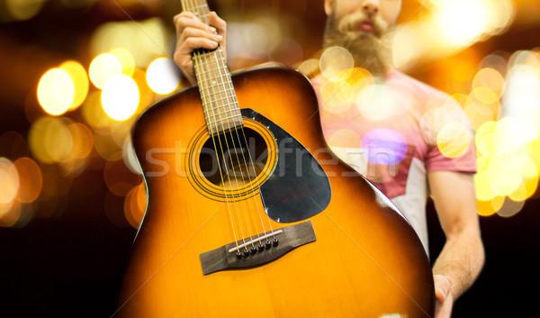 Közelkép zenész gitár éjszaka fények zene Stock fotó © dolgachov