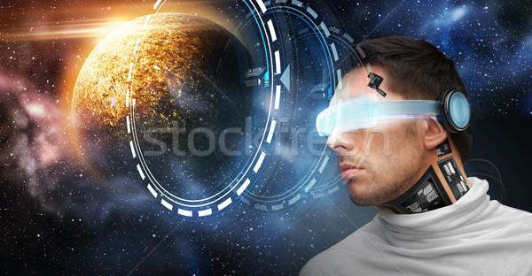 Masculina robot gafas 3d espacio futuro tecnología Foto stock © dolgachov