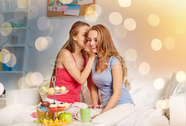 young women drinking tea and gossiping at home Stock photo © dolgachov
