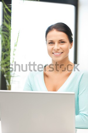 Photo stock: Heureux · femme · ordinateur · portable · photos · affaires · bureau