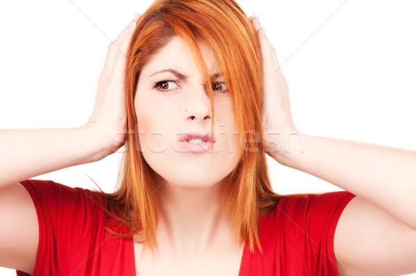 ストックフォト: 不幸 · 赤毛 · 女性 · 画像 · 手 · 耳