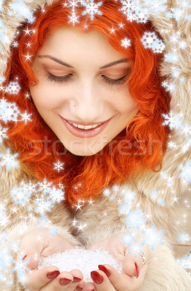 handful of ice and snowflakes Stock photo © dolgachov