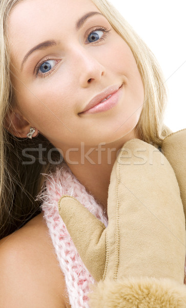 Wanten foto vrouw witte gelukkig Stockfoto © dolgachov
