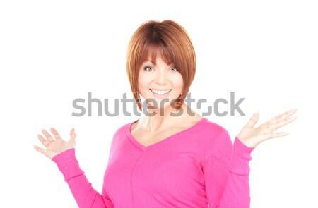 Surpreendido mulher brilhante quadro branco feliz Foto stock © dolgachov