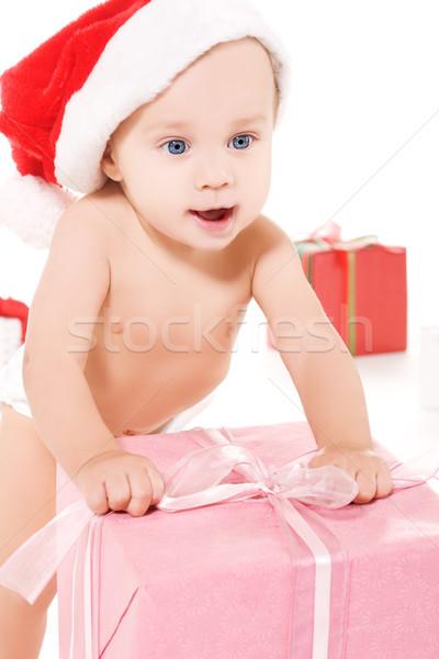 Mikulás segítő baba karácsony ajándékok fehér Stock fotó © dolgachov