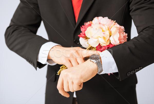 Foto stock: Homem · buquê · flores · moço · casamento